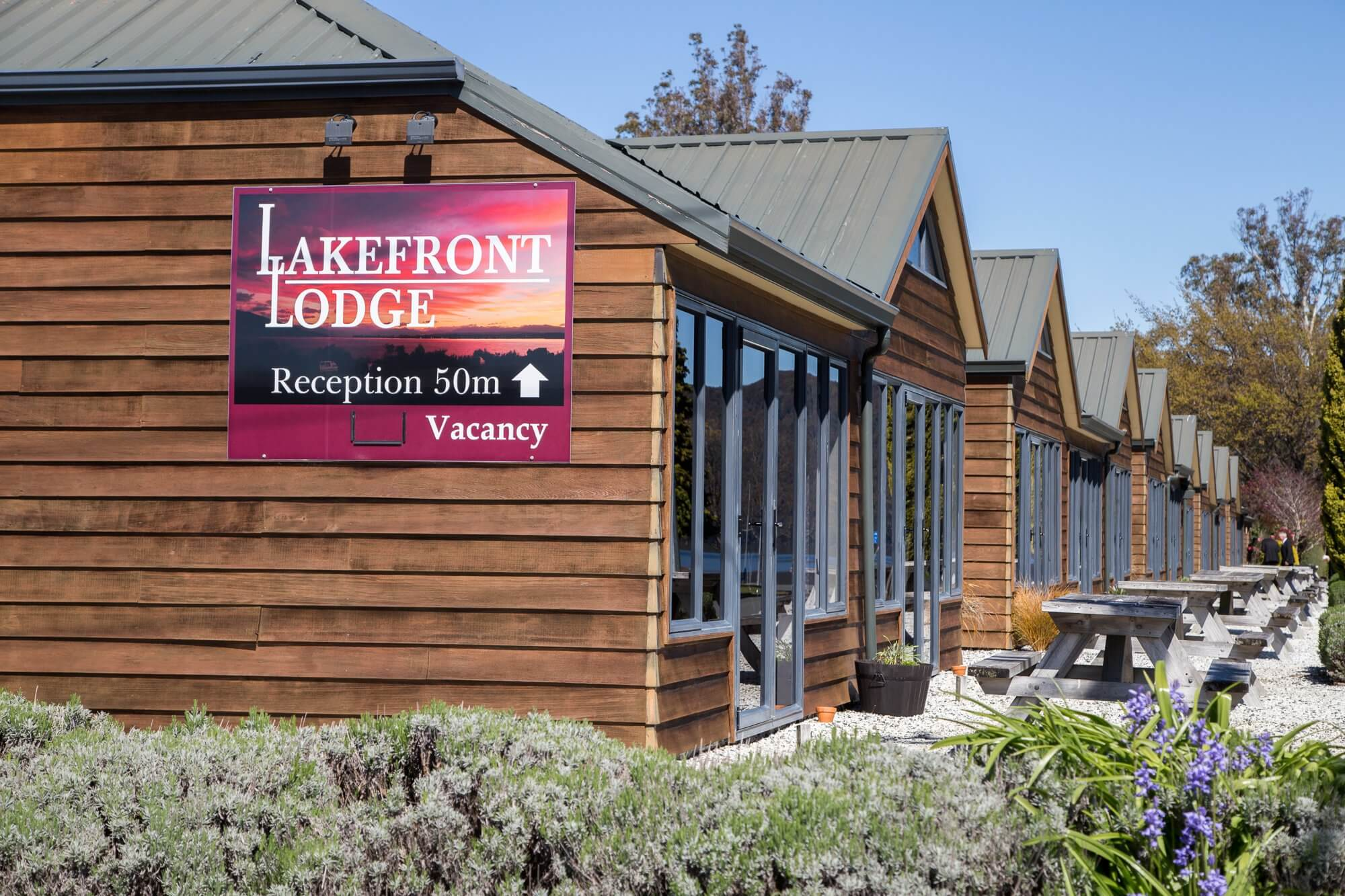 Lakefront Lodge signage at the rear of building