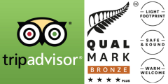 Tripadvisor logo and Qualmark Bronze, four-star plus logo