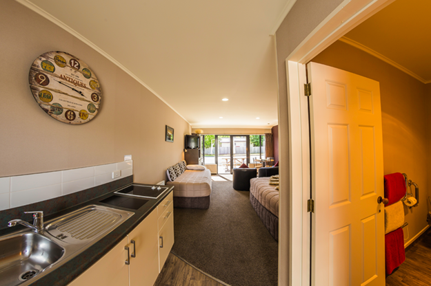 Interior images of accommodation at Lakefront Lodge, Te Anau